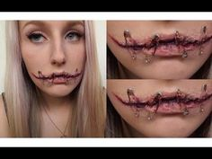 Silenced Halloween Tutorial ♡ Gory Stitched Up Mouth - YouTube