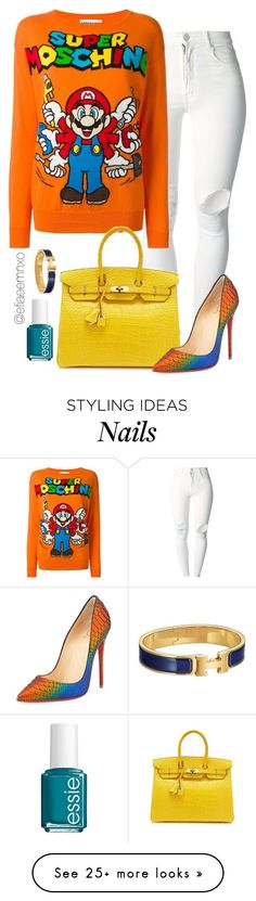 Untitled #1107 by efiaeemnxo on Polyvore featuring ( ) PEOPLE, Moschino, Hermès, Christian Louboutin and Essie