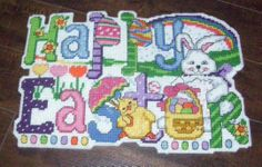 Happy Easter Sign  made in Plastic Canvas