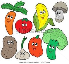 vegetable children | Cartoon vegetable collection 1 - vector illustration. - stock vector