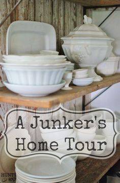 A Secret Treasure Trove: Check out what a Antique/Vintage store owner's home looks like. It's tucked away from the busy world, with her fabulous store out back. www.huntandhost.com