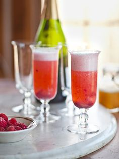 Peach Melba Mimosa: a standard mimosa, but with raspberry and peach purees.     #cocktail #recipes