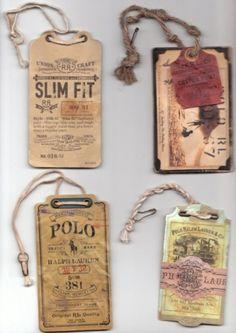 Shane Cranford :: Art Director // Graphic Designer Journal on Designspiration Vintage Tags, Vintage Labels, Vintage Packaging, Wine Packaging, Swing Tags, Clothing Tags, Vintage Clothing, Paper Tags, Kraft Paper