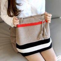 Crochet echo bag by 코바늘 에코백 Crochet Handbags, Crochet Purses, Love Crochet, Diy Crochet, Handbag Tutorial, Crochet Pouch, Crochet Market Bag, Knit Basket, Tapestry Crochet