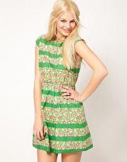 ASOS  Mini Dress In Floral Stripe Print