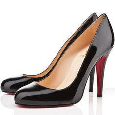100mm Classic Christian Louboutin Ron Ron Black Patent Leather Pumps