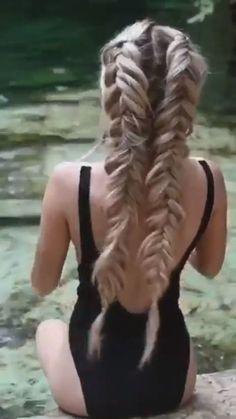 For more braid video tutorials just visit our website! For more braid video tutorials just visit our website! French Braid Hairstyles, Box Braids Hairstyles, Pretty Hairstyles, Girl Hairstyles, Hairstyles Videos, Luxy Hair, Cool Braids, Trending Hairstyles, Hair Videos