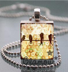 Four Birds On A Wire Scrabble Tile Pendant Necklace | c0nfus3dgurl - Jewelry on ArtFire