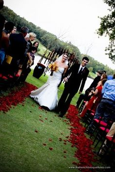 Storybook Photography, Deep Red Rose Petal Aisle Lining