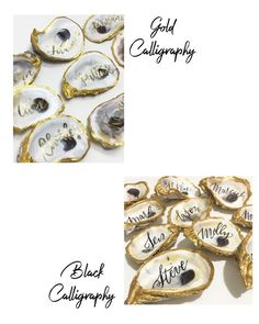 Gold Foil Oyster Shell Place cards, Oyster Shell with Calliraphy for Wedding or Event, Escort Car... Wedding Place Cards, Wedding Guest Book, Our Wedding, Amber Instagram, Oyster Shells, Color Quotes, Gold Ink, Wedding Calligraphy, Ink Color