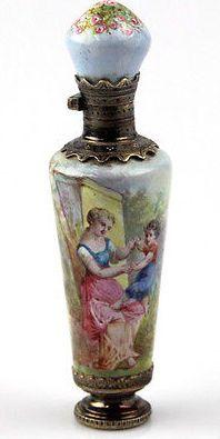 Silver Gilt & Enamel Scent Bottle Perfume Vienna Austria Ca 1880.