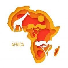 Africa. decorative 3d paper cut map of africa continent with wild animals silhouettes. Vector | Premium Download