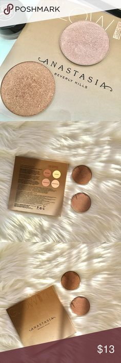 Anastasia Beverly Hills Pans Tourmaline & Bronzed Selling ONLY the Pans Tourmaline & Bronzed.  I might be interested in selling the Moonshine as well, still thinking about it 🤔 Only bought it for the Summer pan 😸 No trade unless you have Dripping in gold Pans from the other ABH pallet ♥️ 2 for 20 Anastasia Beverly Hills Makeup