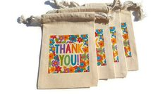 Thank You Floral Muslin Gift Bags 4x6  Favor Goody Bags Flowers Set of 4 Custom#s Available Weddings Birthday Parties Teachers Baby Showers