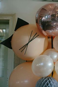 Check out the cool balloon decorations at this Alley Cats Birthday Party!! See more party ideas and share yours at CatchMyParty.com #balloons #partydecorations #CatParty