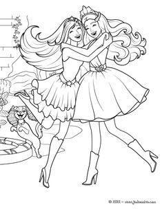 Un joli coloriage plein d´amour avec ce gros calin entre Barbie popstar et Barbie princesse. Colorie les robes et l'univers de ces deux Barbie avec plein de couleurs.