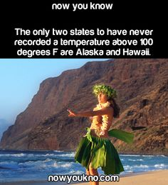 The only two states that have never recorded a temperature over 100 degrees is Alaska and Hawaii NowYouKno Nowukno Now you know