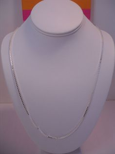 "ITALY 925 SOLID STERLING SILVER DIAMOND CUT BOX LINK CHAIN  24""  PENDANT READY"