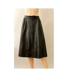 1980s french leather Skirt flared  black  made in by lesclodettes