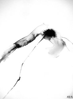 12x16in Abstract Black White Landscape Ink Modern Painting Aquarelle Watercolor