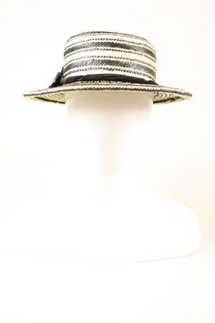Panama Straw Boater with Black and White Stripe by CorinaHaywood