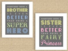 "Superhero and Princess Brother Sister 8"" x 10"" Nursery Print Set of 2 - can do any color"