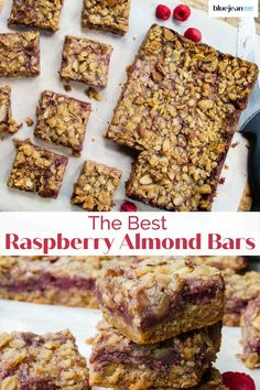 Raspberry Crumble Bars are so easy! This recipe uses fresh raspberries and store bought jam for the filling. These raspberry almond fruit squares are extremely versatile. Any combination of fruit and jam can be used to make this dessert, so use what is in season or mix combinations of your favorite fruit. Top it off with the almond and oatmeal crispy topping for a great snack or dessert. Make Ahead Oatmeal, Brunch Recipes, Dessert Recipes, Raspberry Crumble, Elegant Desserts, Oatmeal Bars, Cooking 101, Raspberries, Desert Recipes