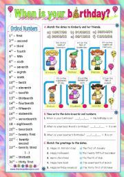 English worksheet: Dates - ordinal numbers:  When is your birthday?