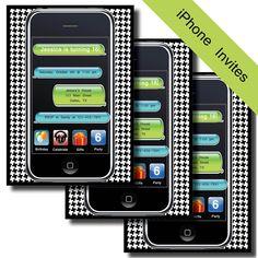 iPhone iPad Birthday Invitation - Printable DIY (Do It Yourself) Cell Phone Invite. $10.00, via Etsy.