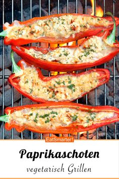 Grilled peppers with sheep& cheese & rosemary- Gegrillte Paprika mit Schafskäse & Rosmarin Grilled peppers with sheep& cheese and rosemary - Grilling Recipes, Beef Recipes, Vegetarian Recipes, Snack Recipes, Dinner Recipes, Cooking Recipes, Healthy Recipes, Dinner Ideas, Barbecue Recipes