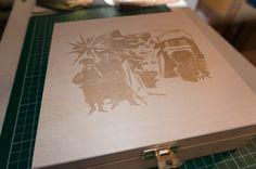 wooden box for chocolates with laser engrave / drewniane pudełko na czekoladki, rysunek wygrawerowany laserem