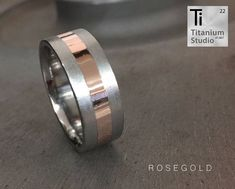 Titanium men's ring with yellow gold inlay. Brushed finish sides and polished gold. Sterling Silver Rings, Gold Rings, Silver Earrings, Silver Jewelry, Titanium Rings For Men, Opal, Amethyst, Diamond Jewelry, Wedding Rings