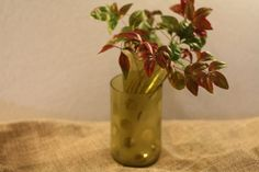 Yellow Green Tilt Vase with a Frosted Base. by GlassItUpbyKim, $15.00