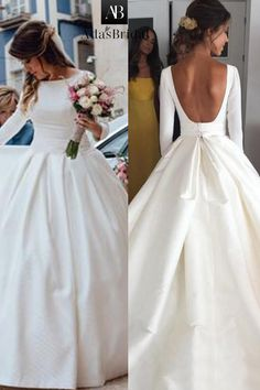 NEW! Simple Satin Bateau Neckline Backless Natural Waistline A-line Wedding Dress