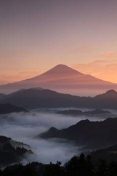 The World Heritage, Mt. Fuji in morning glow, Japan 富士山 Places Around The World, Around The Worlds, Wonderful Places, Beautiful Places, Monte Fuji, Japanese Travel, Amazing Nature, Nice View, Beautiful World