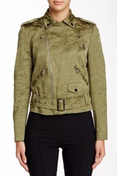 New-ALLEN-KLEIN-Sz-6-Asymmetrical-Zip-Notch-Collar-Detailed-Camo-Print-Jacket