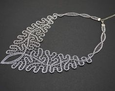 Baroque Lace Necklace   Handmade Bobbin Lace Jewellery   FREE SHIPPING