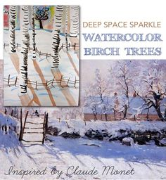 Monet was the father of Impressionist painting. Check out our Art appreciation series - 10 Claude Monet Art Projects for Kids - impressionism, lily pond etc Birch Tree Art, Winter Art Projects, Claude Monet Art, Winter Art Lesson, Watercolor Art Lessons, Art Projects, Winter Landscape Painting, Art, Watercolor Lessons