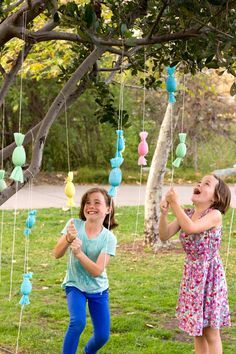 DIY Candy-Filled Egg Popper Tree, great for older kids during the Easter egg hunt