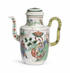 A famille verte ewer and cover, Kangxi period (1662-1722)