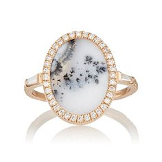 Monique Péan White Diamond & Dendritic Opal Ring: http://www.stylemepretty.com/2016/05/31/unique-nontraditional-engagement-ring/