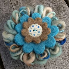 Sea Breeze Wool Flower Brooch