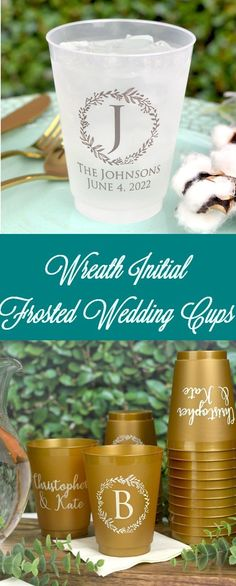 Personalized Frosted Wedding Cups are the perfect favor for your big day! Design your cups to fit your theme and set them out at the bar or table settings. Guests will adore the attention to detail, and take their cup home at the end of the night. Wedding Plastic Cups, Wedding Cups, Personalized Cocktail Napkins, Personalized Cups, Wedding Reception Favors, Bar Ideas, Mixed Drinks, Table Settings, Anna