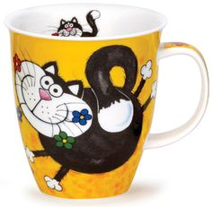 Dunoon - Fine Bone China Mugs - Nevis Shape : Kitty Cats Yellow