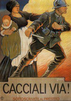 World War I Italian propaganda poster. Ww1 Propaganda Posters, Wilhelm Ii, Kaiser Wilhelm, Italian Posters, Roman History, War Photography, Ad Art, World War One, Military Art
