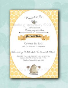 Mommy to Bee Baby Shower Invitation  12 by StudioGStationery, $24.00