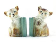 Vintage Cat Bookends Kitten Kitch - Pair ceramic