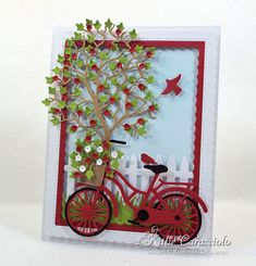 I have a colorful bicycle and tree scene card to share with you today using several dies by Rubbernecker Stamps. I used the Bicycle, Wi Paper Cards, Diy Cards, Bicycle Cards, Poinsettia Cards, Red And White Flowers, Card Making Techniques, Pretty Cards, Craft Stick Crafts, Flower Cards