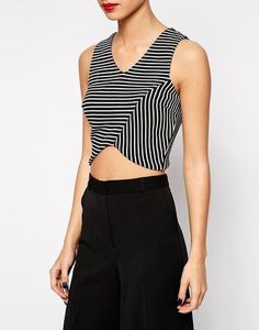 New Look Striped Waffle Cropped Top at asos.com #top #crop #stripes #asos #women #covetme