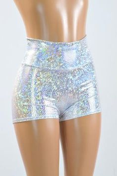 High Waist Silver on White Shattered Glass Holographic Metallic Spandex Shorts Festival Rave Clubwear 151029 Sparkly Shorts, Sparkly Outfits, Silver Shorts, Festival Outfits, Festival Fashion, Party Fashion, Cute Fashion, Clubwear, Fashion Models